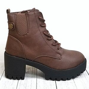 New Brown Lace Up Combat Lug Ankle Boots Booties